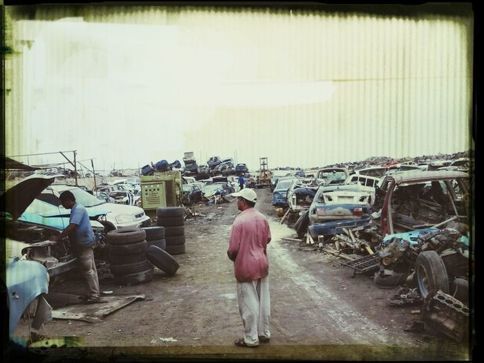 scrap yard in the rainy day.
