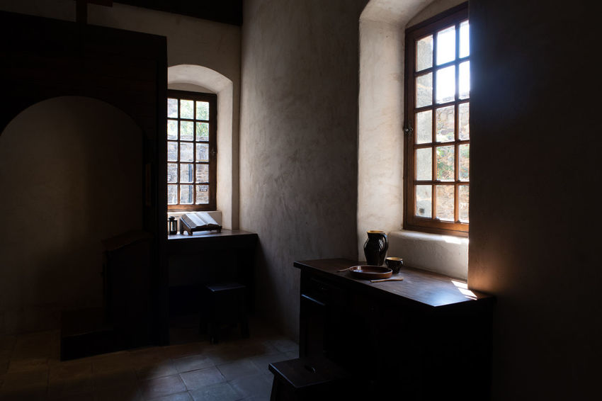 Monastery Monastère De La Verne Absence Architecture Bathroom Building Carthusian Dark Day Domestic Bathroom Domestic Room Flooring Furniture Home Indoors  Luxury Medieval Medieval Architecture Medieval Interior Nature No People Sink Sunlight Table Window