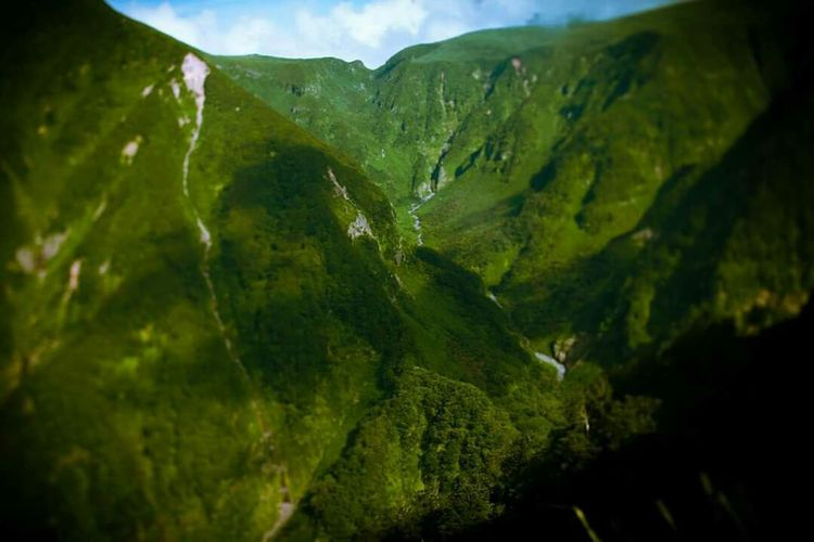 Mountain Valley Nature No People Green Color Outdoors Chokaisan Trees Sky Summer Remote Mountain Peak Majestic