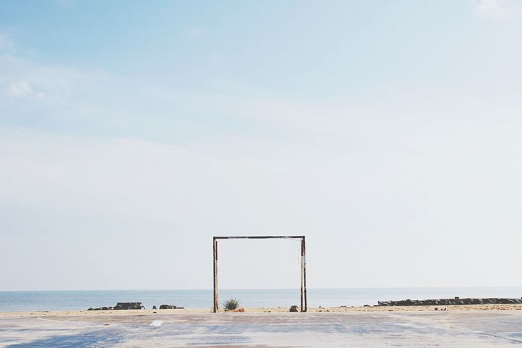 Exquisite atmosphere Wallpaper Sky Beach Sea Atmospheric Mood Soccer Field Soccer Field Football Stadium Football Sea Water Sky Horizon Over Water Horizon Land Beach Beauty In Nature Outdoors No People Architecture Copy Space Nature