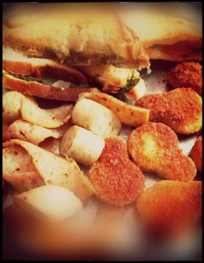 Breakfast time CHiCKEN NUGGETS Sandwiches Sausages! Salami Yummy Food Perfect Day Random Shot. Sumptuous Flavors Food And Drink Freshness Healthy Eating Indoors  No People Meat Food Stories