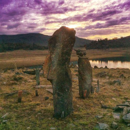 Rock Stacking Cairyn Trailrunning above FolsomLake Sunrise Sunrise_sunsets_aroundworld