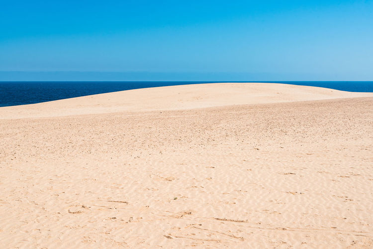 Sand Dunes in Canary Islands Canary Islands Fuerteventura Beach Beauty In Nature Blue Clear Sky Climate Corralejo Desert Environment Horizon Horizon Over Water Land Landscape Nature No People Outdoors Sand Sand Dunes Scenics - Nature Sea Sky Tranquil Scene Tranquility Water