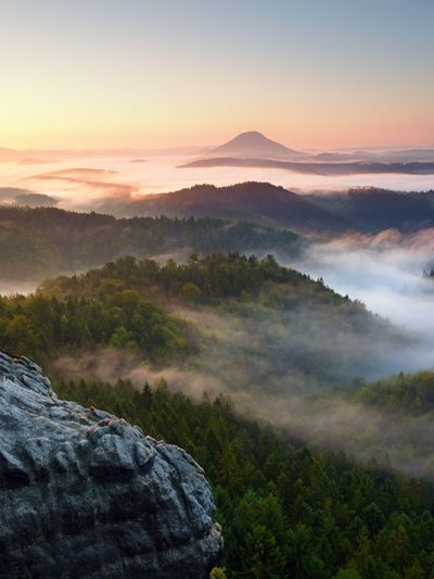 Autumn sunrise above above forest, fall colorful valley full of dense mist colored with hot sun rays