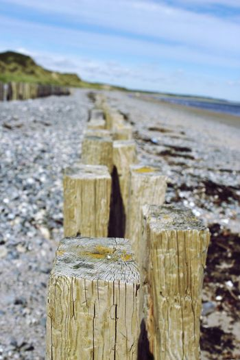 Close-up of wooden post on wooden post