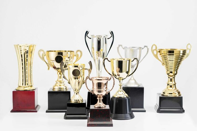 Variety of Trophy Cup on white background Trophy AWARD Success Achievement Winning Competition Shiny Still Life No People Gold Colored Indoors  Studio Shot Group Of Objects Metal Medal Sport Pride Emotion Choice White Background Silver Colored Crockery