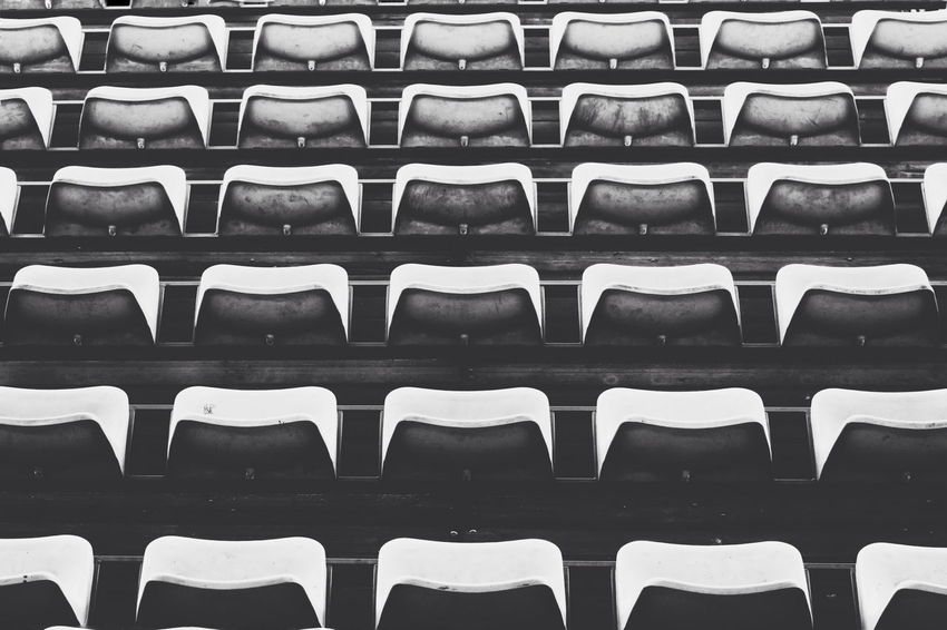 Black & White Black And White Blackandwhite Chair Empty In A Row No People Order Repetition Seat Beautifully Organized