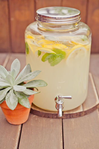Close-up of fresh lemonade by potted plant on table