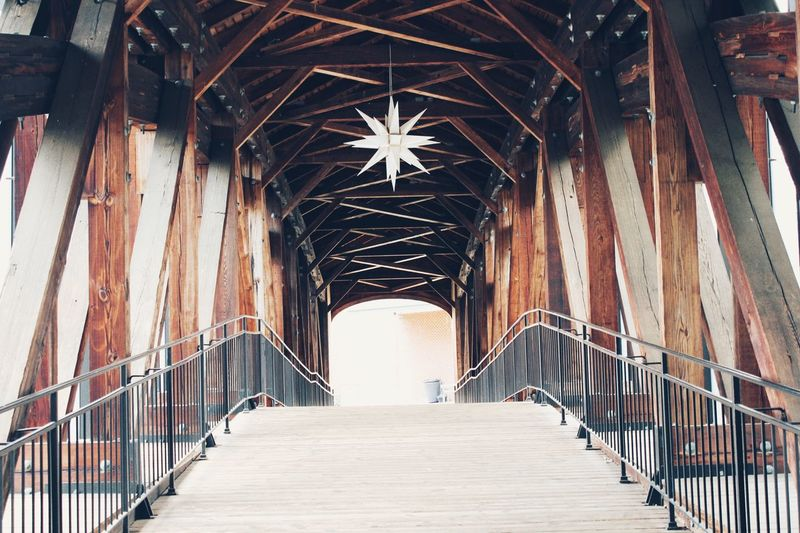 Old Salem NC Bridge Wood Architecture Built Structure Covered Bridge No People Bridge - Man Made Structure Old Salem North Carolina Winston Salem