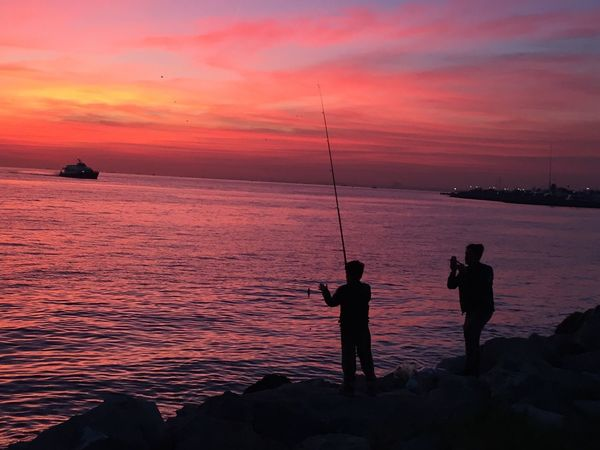 Water Sky Sunset Sea Beauty In Nature Fishing Silhouette