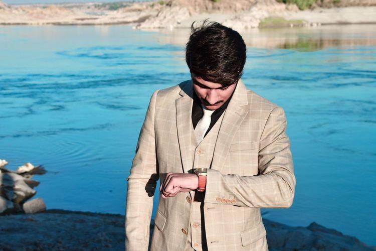 #Blue, #Person...... ❤ Water Sea Portrait Eyeglasses  Beach Standing Men Swimming Young Men Looking Down Wearing
