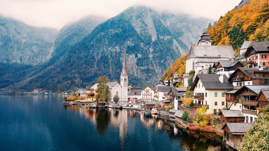 Mountain Water Nature City Mountain Range Scenics - Nature Town TOWNSCAPE Day No People Austria Hallstatt Water Reflections Lake Lakeview Landscape Landscape_Collection Landscape_photography