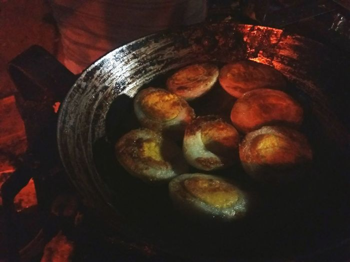 Dark Food No People Close-up Night Road Side View Street Food Outdoors Food And Drink Large Group Of Objects Fried Eggs High Angle View