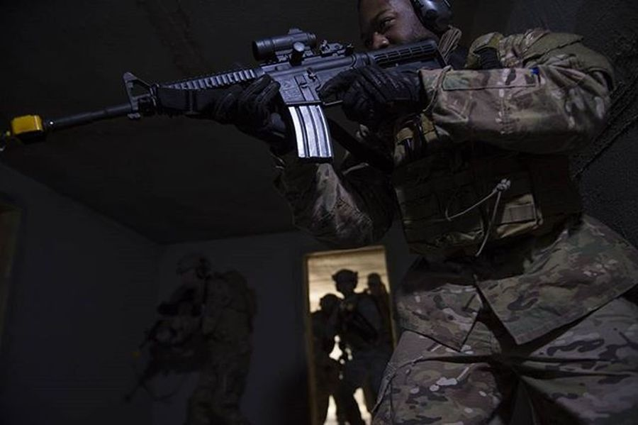 Comcam Airman practicing Cqb Tactics Usafphoto Military USAF Picoftheday Photojournalism Training