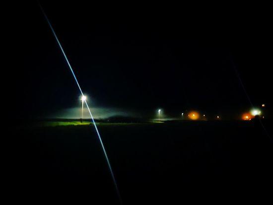 Night Illuminated Light Beam Foggy