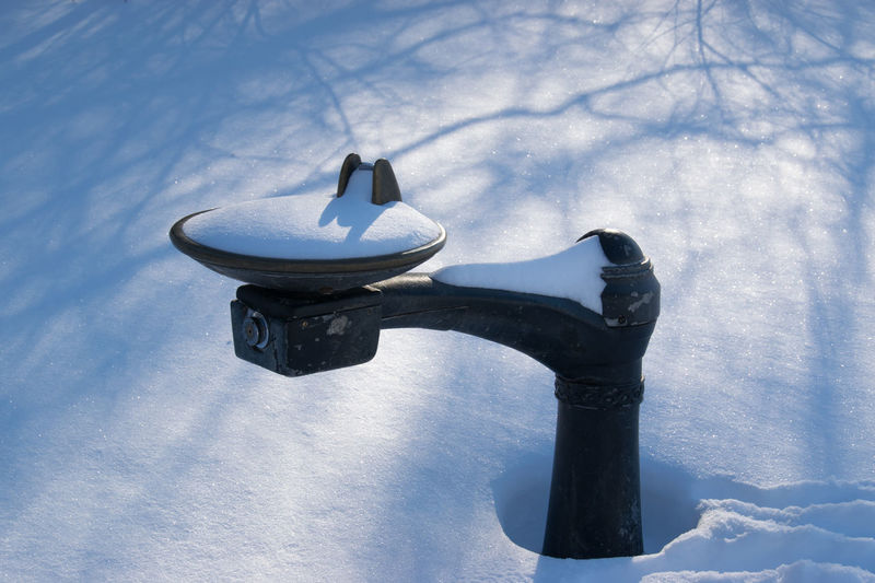 Prospect Park Shadow Snow Water Fountain Winter