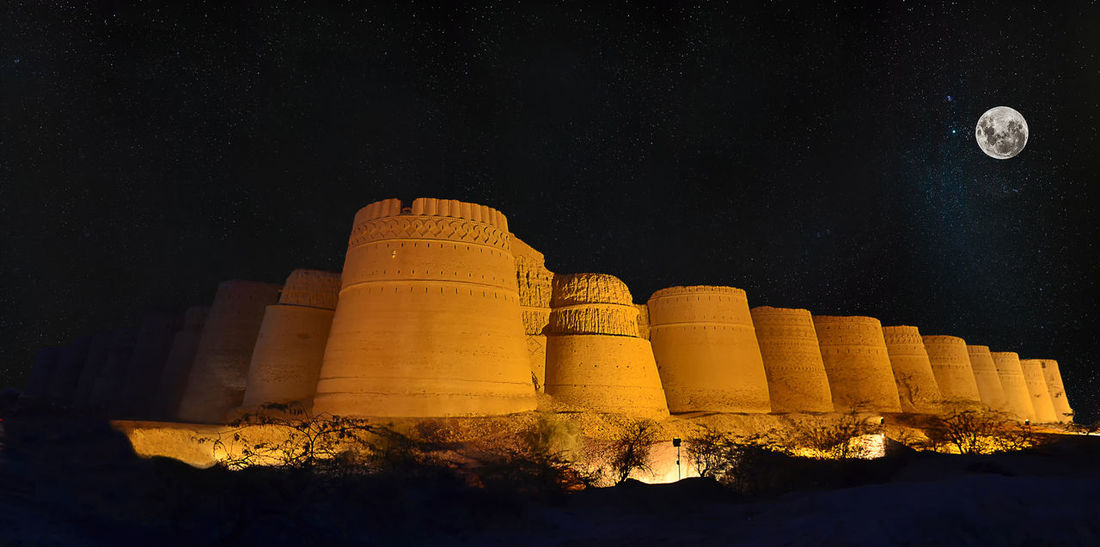 Derawar Fort Derawar Moon Pakistan Pyramid Qila Ruins Walled City Ancient Architecture Ancient Civilization Architecture Army Bahawalpur Building Exterior Built Structure Fort Fortified Wall Fortress Heritage Moonlight Moonlit Museum Night Outdoors Sky Strong
