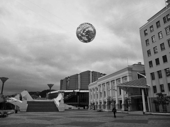 Ferns, public art by Neil Dawson at City Square, Wellington, New Zealand Black And White New Zealand Landscape Architecture Building Exterior Built Structure City Cloud - Sky Day Outdoors Public Art Real People Sky An Eye For Travel The Creative - 2018 EyeEm Awards #urbanana: The Urban Playground