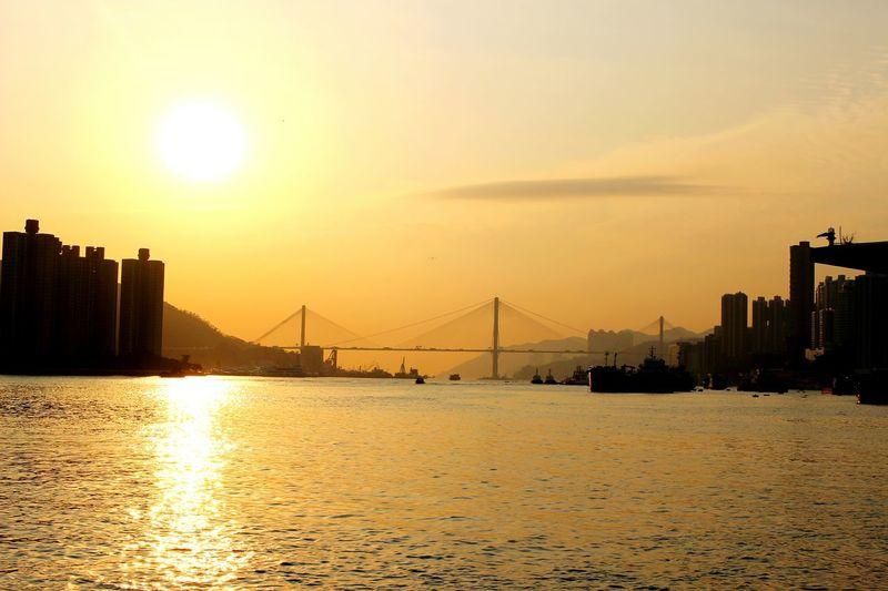 2015 Life In Hong Kong· Sunset Seaside Tsuen Wan Hong Kong Ting Kau Bridge Gorgeous Sky Collection Sea_collection Nature