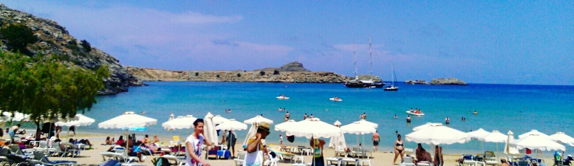 My favourite beach in the world, Lindos, Greece 🌊⛵🏊🏄 Rhodos Rhodes Greece Life Is A Beach Beach Beach Photography Nature Nature_collection Summer Holidays Beachphotography