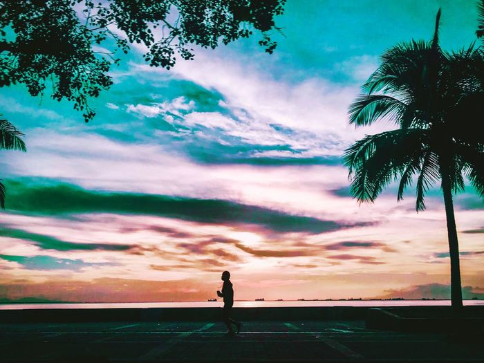 Cloud - Sky Sky Tree Beauty In Nature Nature Land My Best Photo Sunset Tranquility One Person Outdoors Silhouette Beach Scenics - Nature Real People Sea Tranquil Scene