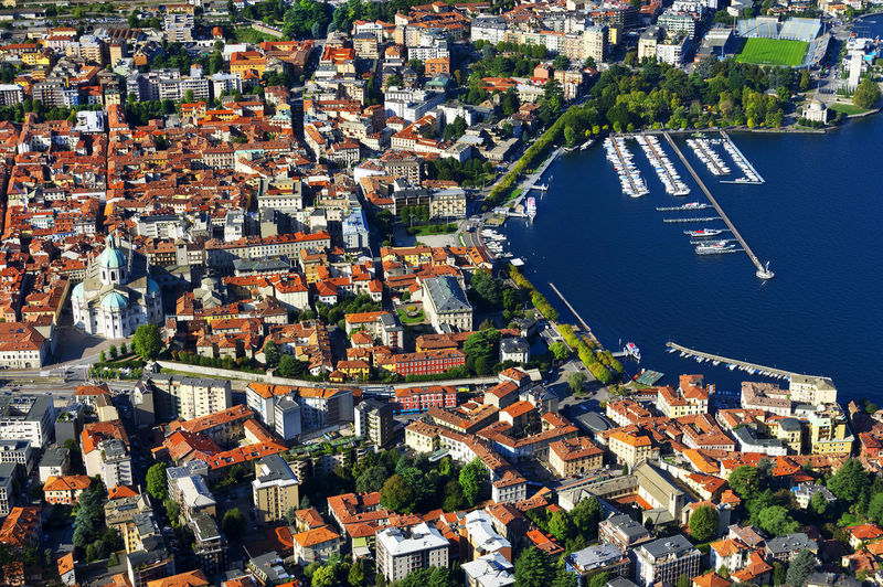 Aerial view of como lake and city