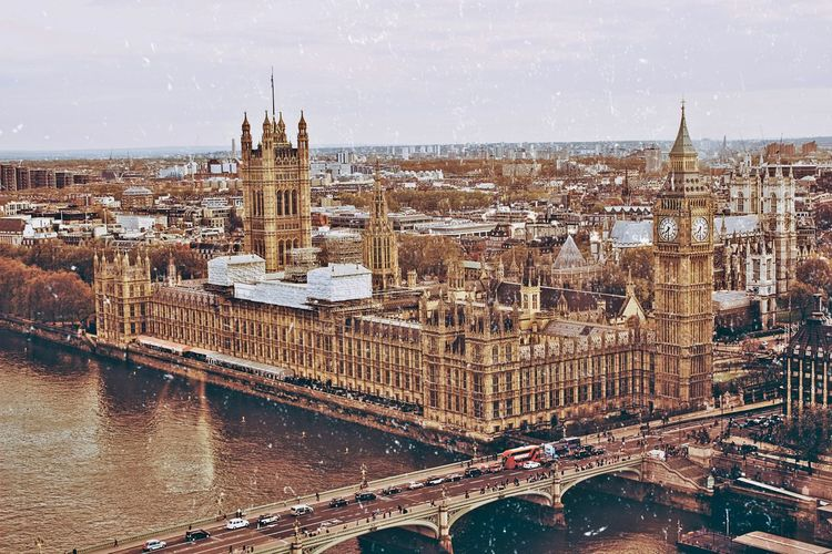 Aerial view of westminster palace from london eye capsule