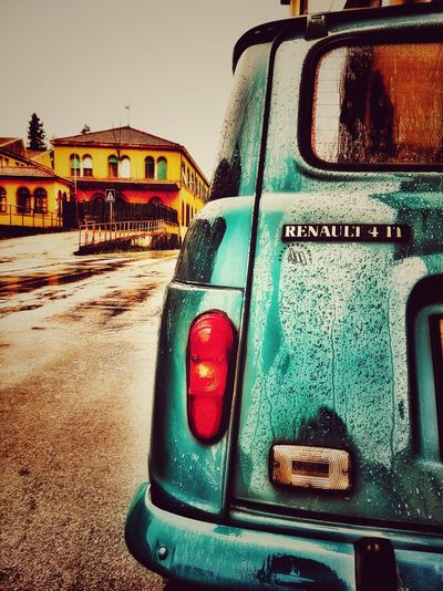 Seventies come back Telling Stories Differently No People Minimalist Vintage Vintage Cars Tuscany Italy Lucca Minimalism The KIOMI Collection Street Photography Post Industrial Factory Renault 4 Workers Vintage Car Blue Showing Imperfection Up Close Street Photography The Color Of Business The Drive