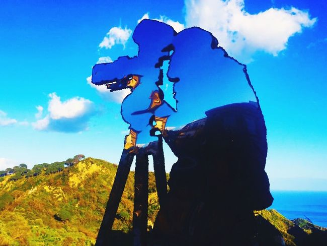 Sky Cloud - Sky Day Low Angle View Outdoors Blue Men One Person Nature Savoca, Sicily The Godfather
