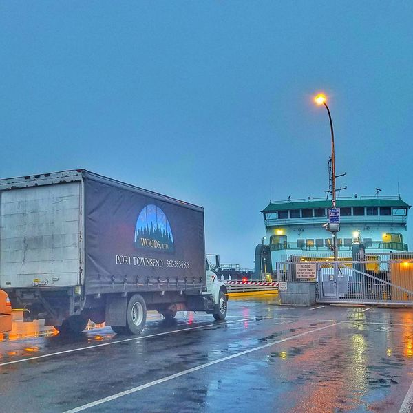 Early Morning Port Townsend Washington State Ferry Washington State Ferry Vehicles Truck Commuting No People Ferryboat Ferry Boat Docks Rain Rainy Days Wet Day