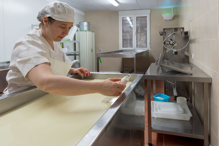 Female worker checking milk temperature in cheese factory