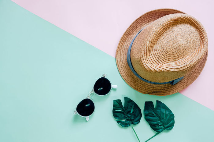 Close-up Colorful Day Design Fashion Hat High Angle View Indoors  Minimal No People Pair Shoe Still Life Studio Shot Style Summer Sun Hat Sunglasses Table Top Perspective Copy Space Objects Accesories Stylish