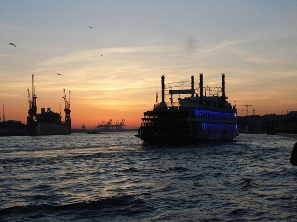 Hamburg city EyeEm Selects Sunset Ship Water Horizon Over Water Industry Sea