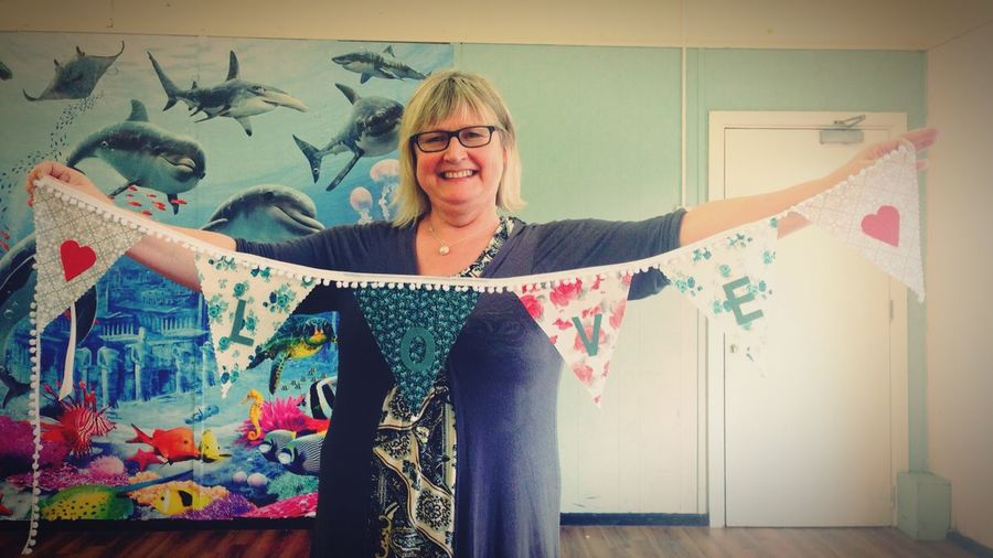 Made bunting today don't I look pleased