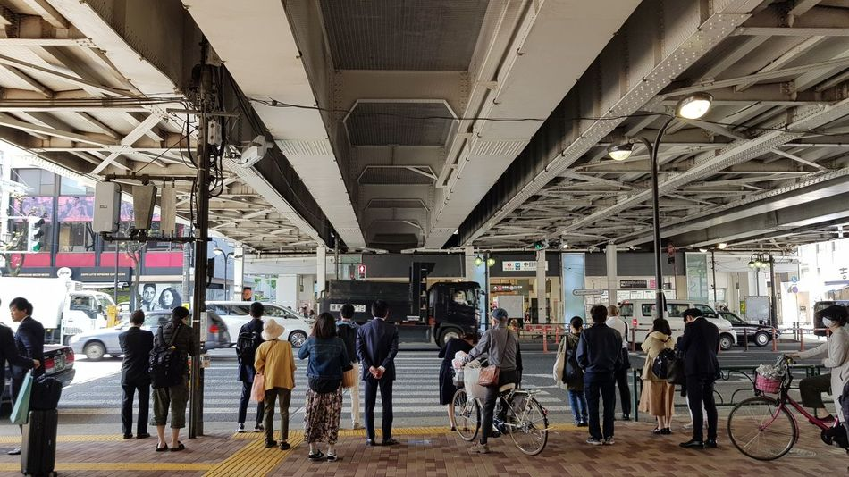 City Life Pedestrian Crossing Shade Street Life Under The Bridge Waiting Bicycles Busy Street City Crowd Group Of People Large Group Of People Lifestyles Mode Of Transportation Real People Steel Structure  Street Photography Streetphotography Waiting To Cross The Street Walking