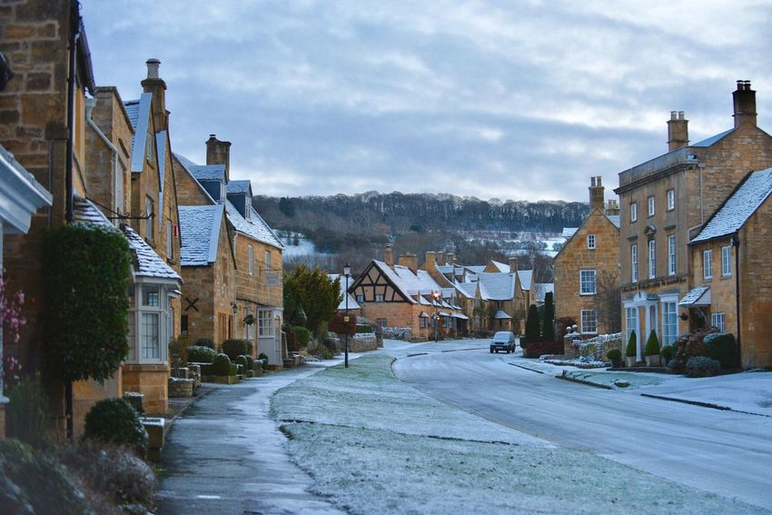 Architecture Broadway Building Exterior Built Structure City Cloud - Sky Cotswolds Day House Nature No People Outdoors Road Sky Snow Snow Covered Snow ❄ Town Neighborhood Map