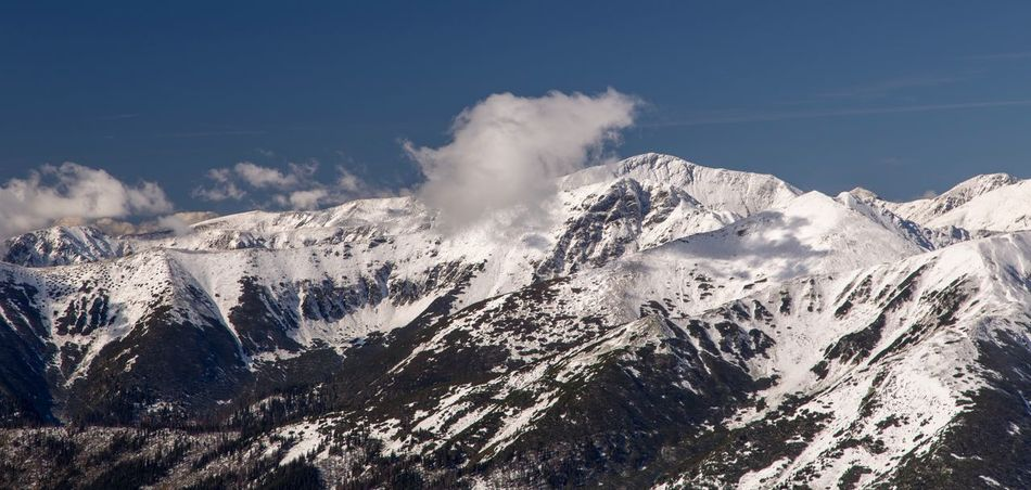 Mountain with cloud Mountain Beauty In Nature Snow Winter Scenics - Nature Sky Cold Temperature Mountain Range Cloud - Sky Nature Snowcapped Mountain No People Landscape Idyllic