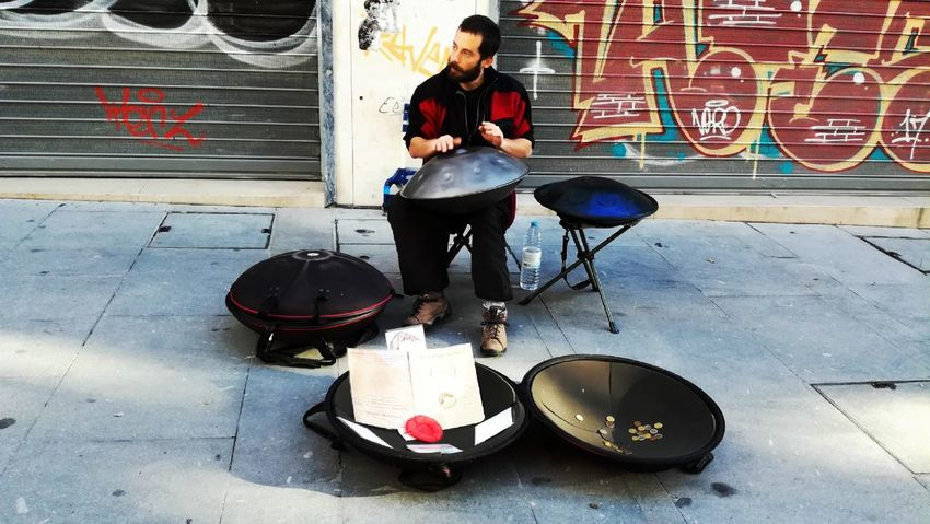 Musician Music One Person Drum Kit Full Length Arts Culture And Entertainment Musical Instrument Adults Only People Performance Adult On Street Street Artists Microphone Drumstick Day Porto Portugal