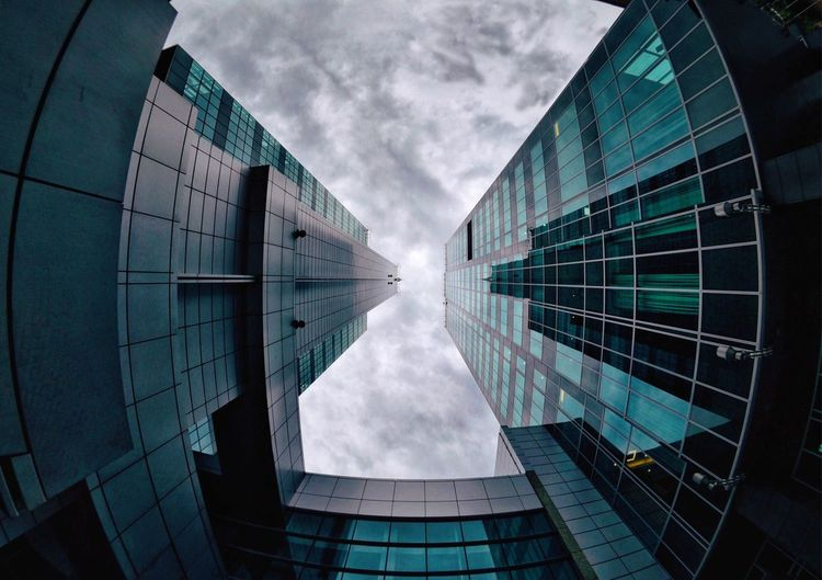 Architecture Fisheye Teal Skyscraper Glass - Material Sky And Clouds Metropolis Urban Skyline Architecture_collection EyeEm Best Shots EyeEm Selects