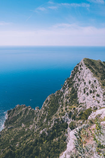Top of Monte Solaro, Capri! Sea Scenics - Nature Water Beauty In Nature Tranquil Scene Sky Tranquility Horizon Horizon Over Water Blue Nature Day Idyllic No People Non-urban Scene Land Mountain Rock High Angle View Outdoors Capri Italy Europe Blue Water Blue Sky Clear Sky Amazing View View From Above