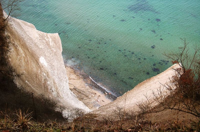 High Angle View Of Cliff By Sea At Jasmund National Park