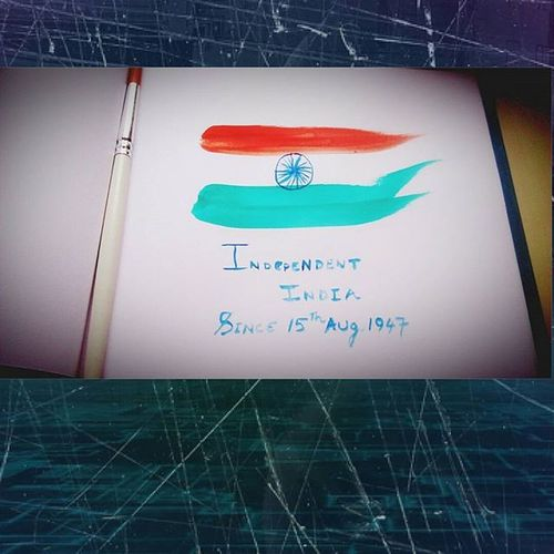 Happy independence day to all the indians. Tricolor Indian Indian_Flag Proud_nation Freedom 15thaugust2015 Painting