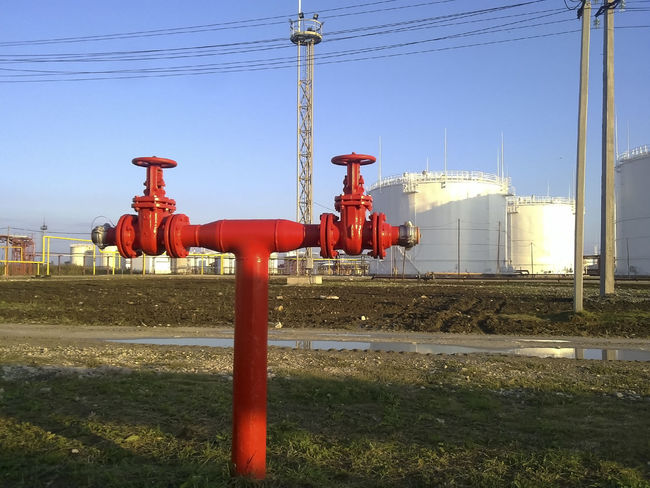 Fuel Gas Industry Pump Clear Sky Connection Day Electricity Pylon Equipment Field Fuel And Power Generation Grass Industry No People Oil Oil Pump Outdoors Petrochemical Plant Red Refinery Reservoir Reservuar Rosneft Sky Tank Technology