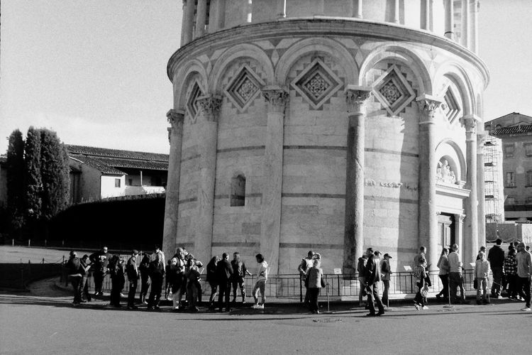 Torre Di Pisa Tower Tourism LINE People In Line Blackandwhite Daylight Blackandwhite Photography Film Photography Ilford Tourists Tourist Attraction  Italy Building Exterior Military Uniform