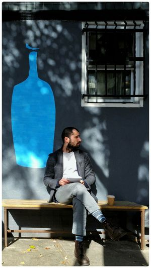 Blue and Gray Blue Gray Coffee Blue Bottle Coffee Matching Socks Light And Shadow Phonetography Street Photography Open Edit SNAPp