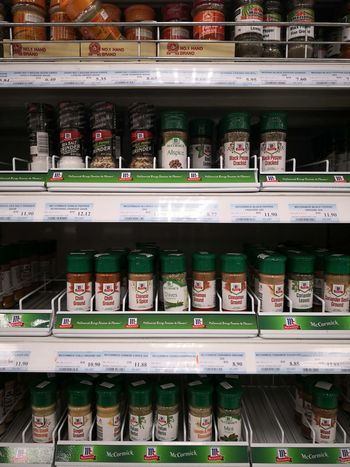 Spices Cooking Ingredients Supermarket Groceries Consumerism Shelf Food Staple Market Store Retail  Choice For Sale Price Tag Retail Display Various Display Shop Variety