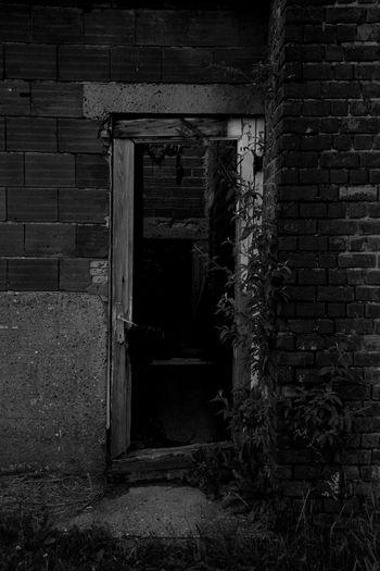 Back Door. Brick Wall Architecture Built Structure Door Abandoned Weathered Building Exterior Open Door Doorway Belgium. Belgique. Belgie. Belgien. Etc. Belgique Belgium Noeveren Antwerpen Black & White Black And White Blackandwhite Back Door Urbex Urbexphotography Urbexexplorer