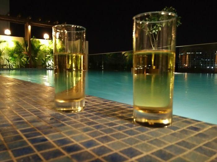 Nofilter#noedit Swimming Pool At Night Drinks!