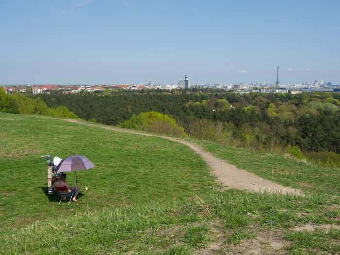 Berlin Cityscape Path Sitting View Day Environment Field Grass Green Color Land Landscape Nature Outdoors People Scenics - Nature Sky Spring Springtime Teufelsberg Umbrella Viewpoint Focus On The Story