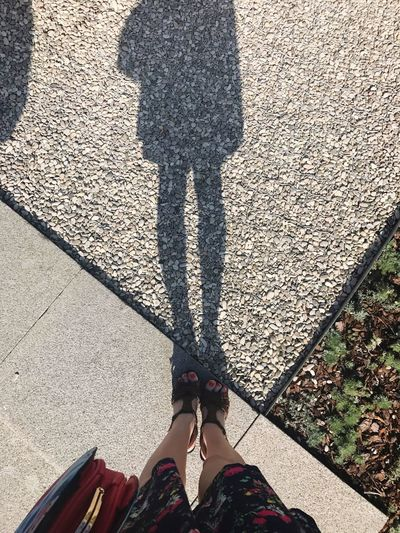 Shadow Human Leg Low Section Real People Sunlight High Angle View Human Body Part Lifestyles Standing Leisure Activity Day One Person Outdoors Women Nature Adult People